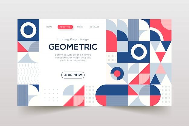 Modèle de page de destination des éléments géométriques