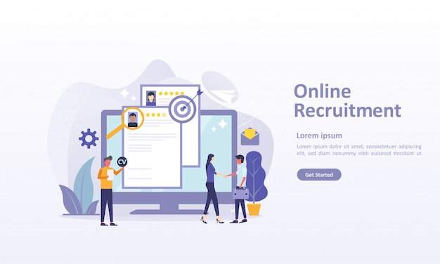 Modèle de page de destination de l'embauche avec caractère