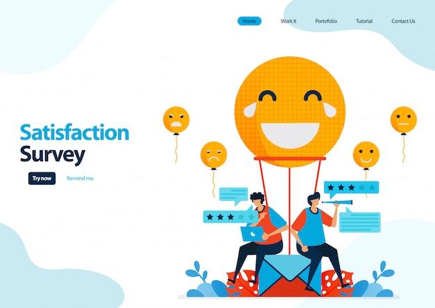 Modèle de page de destination des enquêtes de satisfaction d'émoticônes. évaluation des commentaires et étoiles pour les services d'applications.