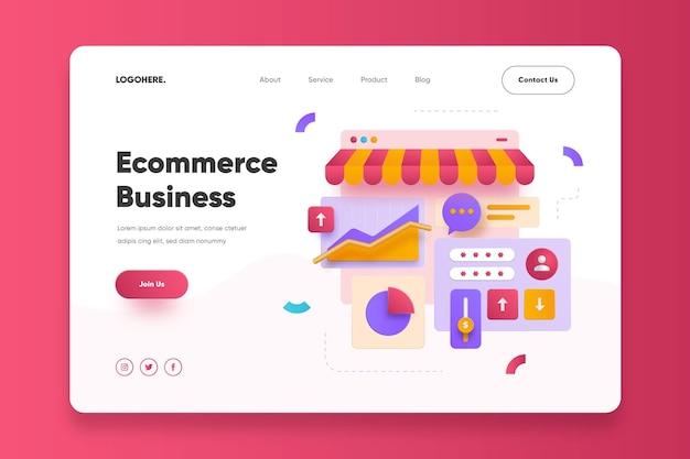 Modèle de page de destination d'entreprise de commerce électronique