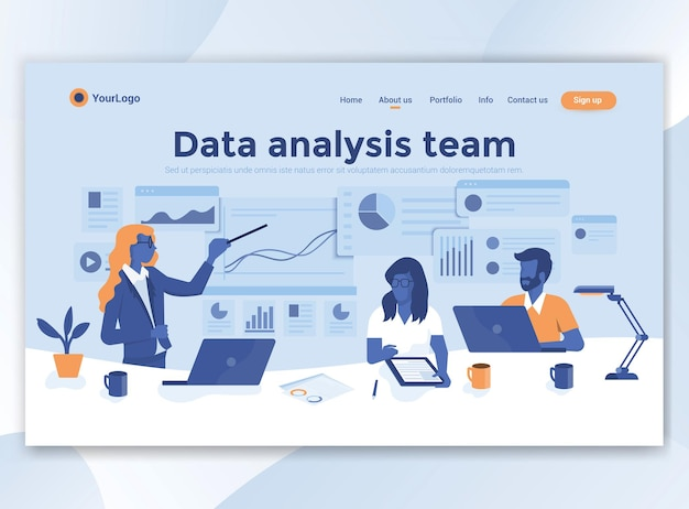 Modèle de page de destination de l'équipe d'analyse des données. design plat moderne pour site web