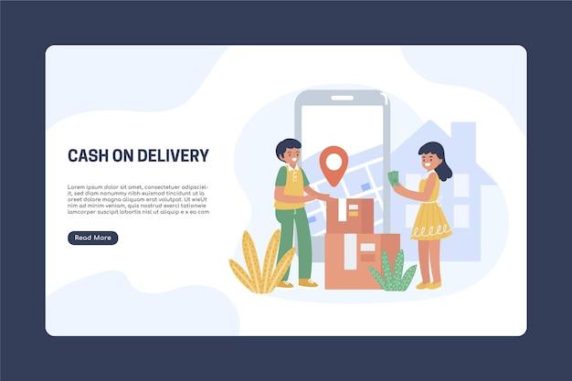Modèle de page de destination en espèces à la livraison dessiné à la main