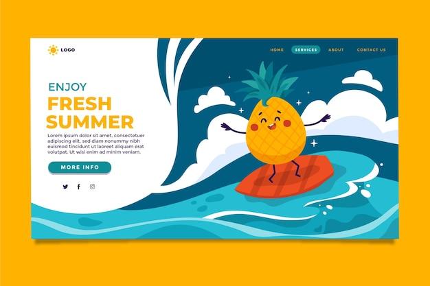 Modèle de page de destination d'été de dessin animé