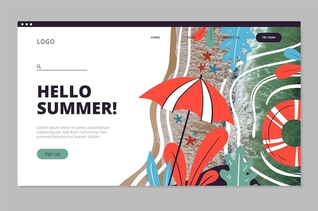 Modèle de page de destination été dessiné à la main avec photo