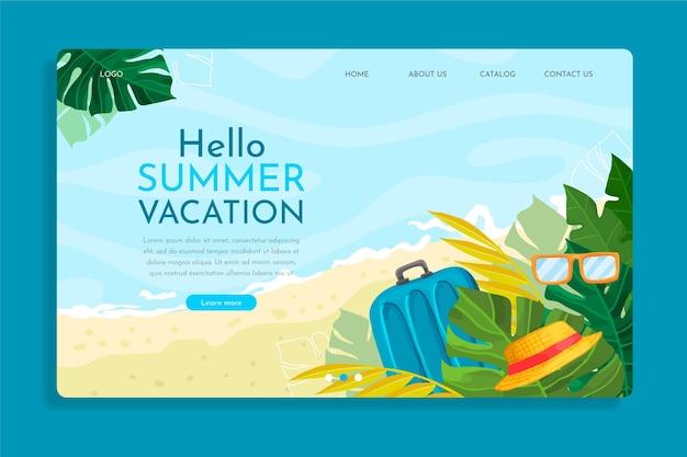 Modèle De Page De Destination D'été Dessiné à La Main Vecteur gratuit