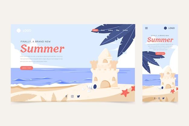Modèle de page de destination d'été dessiné à la main