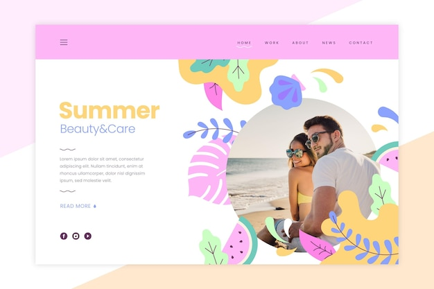 Modèle de page de destination d'été avec photo