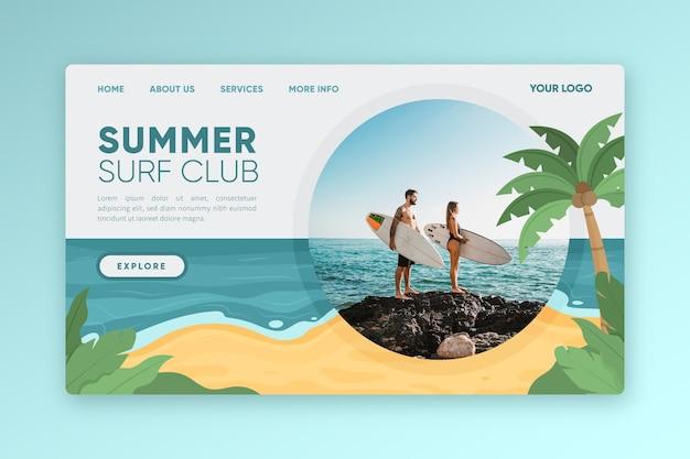 Modèle de page de destination d'été plat organique avec photo