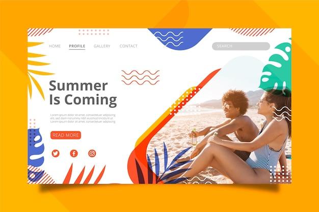 Modèle de page de destination d'été plat