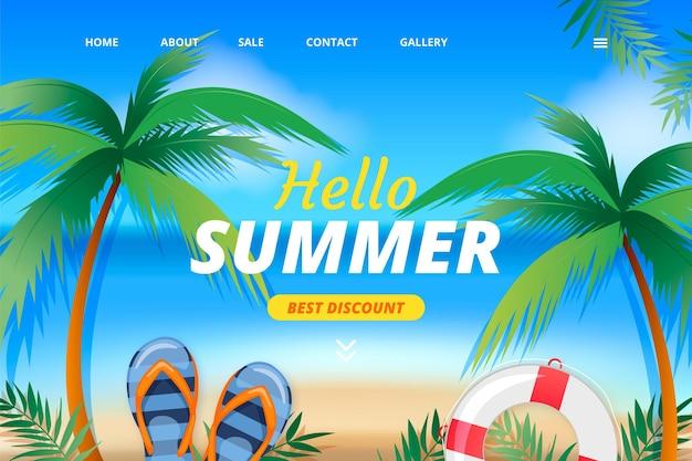 Modèle de page de destination d'été réaliste