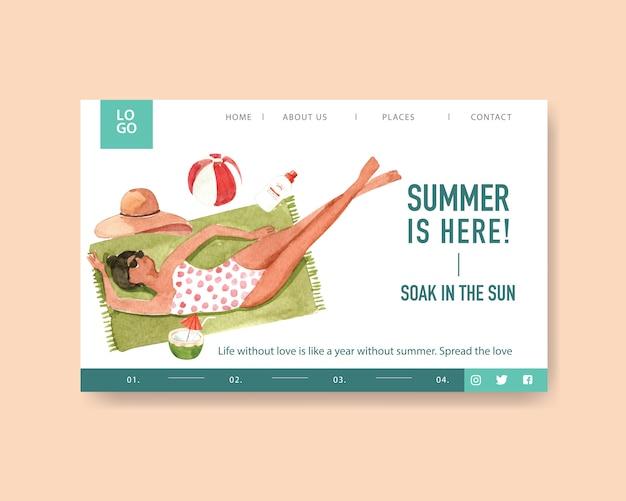 Modèle de page de destination d'été
