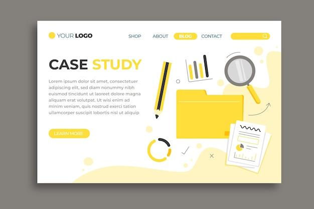 Modèle de page de destination d'étude de cas dessiné à la main