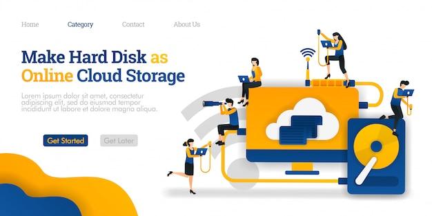 Modèle de page de destination. faites du disque dur le stockage en ligne sur le cloud. partage de fichiers dans le stockage dur pour l'hébergement en nuage