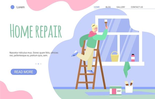 Modèle de page de destination avec femme peintre effectuant des murs de peinture à l'intérieur