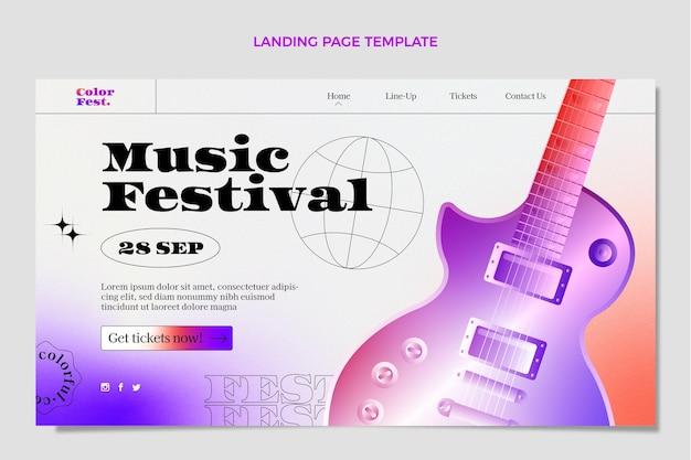 Modèle de page de destination de festival de musique coloré dégradé