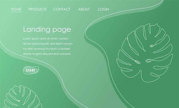 Modèle de page de destination avec feuille de monstera sur fond vert. concept d'illustration vectorielle de conception botanique tropicale simple pour le développement de sites web. illustration vectorielle