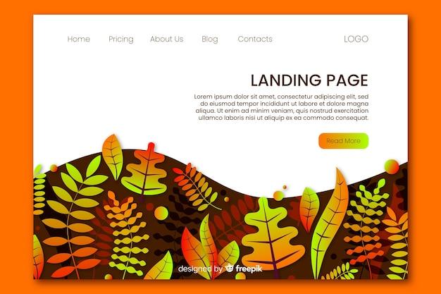 Modèle de page de destination de feuilles de dégradé