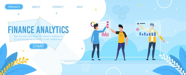 Modèle de page de destination de finance analytics design