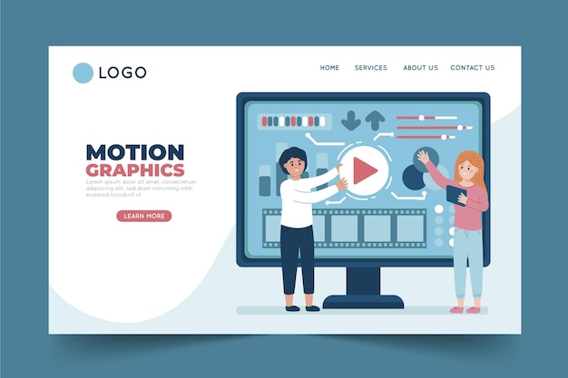Modèle de page de destination flat motiongraphics