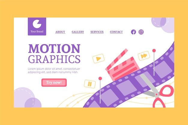 Modèle de page de destination flat motiongraphics