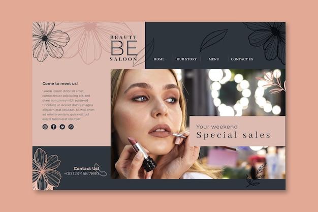 Modèle de page de destination florale de salon de beauté