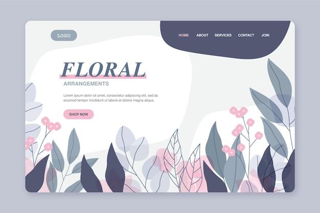 Modèle de page de destination florale