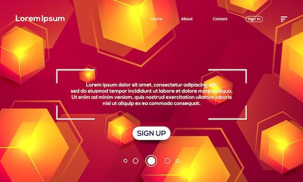 Modèle de page de destination de fond abstrait texture hexagone