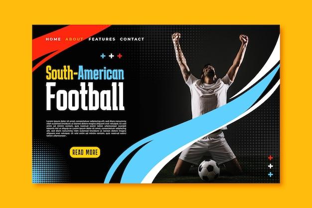 Modèle de page de destination de football sud-américain réaliste