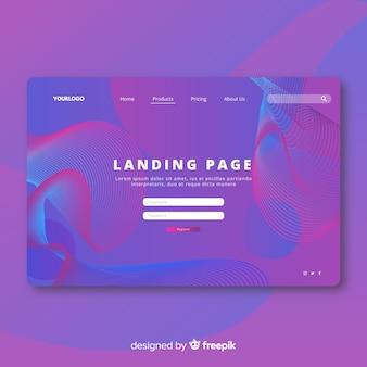 Modèle de page de destination de formes abstraites linéaires