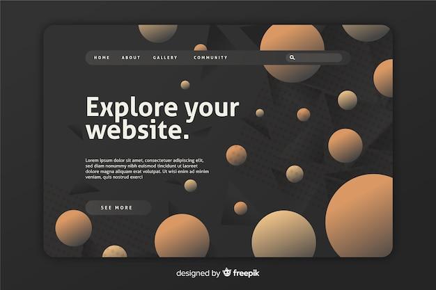 Modèle de page de destination de formes géométriques dégradées grises