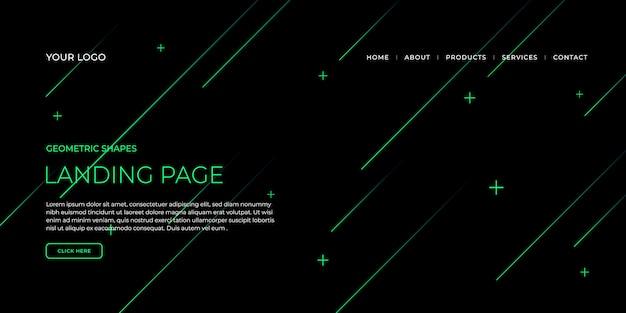 Modèle de page de destination avec des formes géométriques