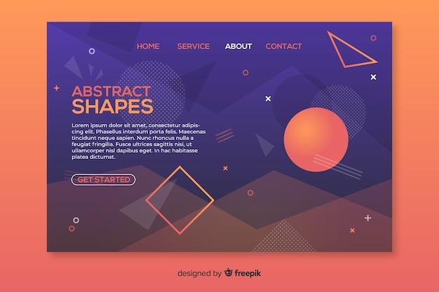 Modèle de page de destination de formes géométriques