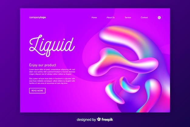 Modèle de page de destination de formes liquides