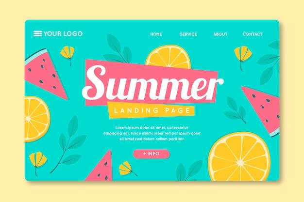 Modèle de page de destination avec des fruits