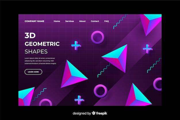 Modèle de page de destination géométrique dégradé 3d