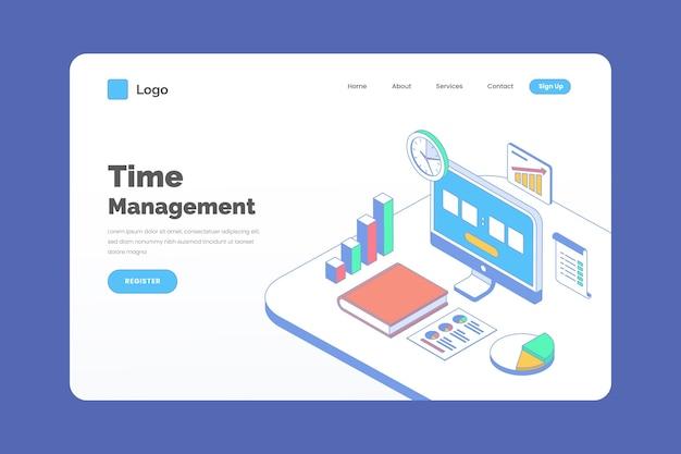Modèle de page de destination de gestion du temps de contour isométrique