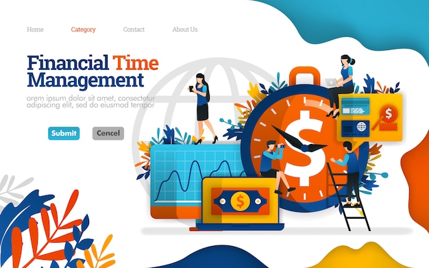 Modèle de page de destination. gestion du temps financier. le meilleur partenaire d'investissement est le temps. illustration vectorielle