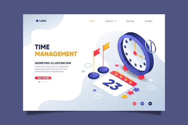 Modèle de page de destination de gestion du temps isométrique