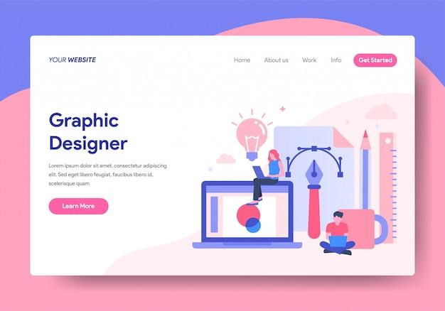 Modèle de page de destination de graphic designer
