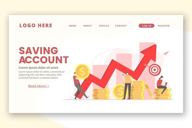 Modèle de page de destination de graphique d'argent