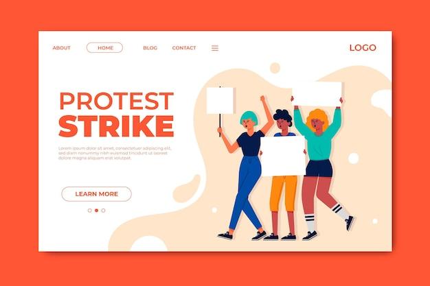Modèle de page de destination de grève de protestation