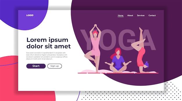 Modèle de page de destination de groupe de yoga féminin