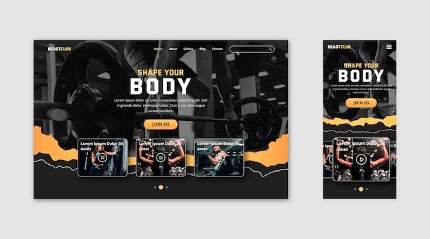Modèle de page de destination de gym