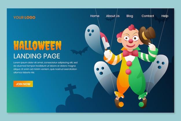 Modèle de page de destination halloween dégradé