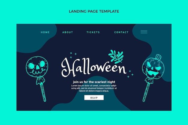 Modèle de page de destination halloween plat dessiné à la main