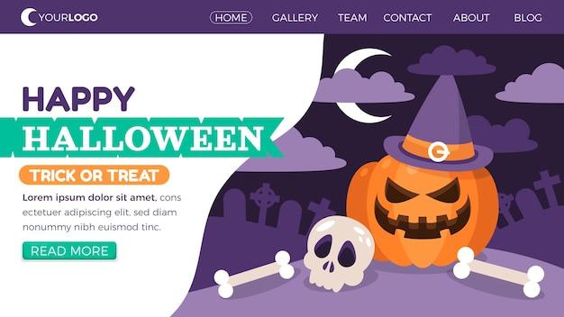 Modèle de page de destination halloween plat