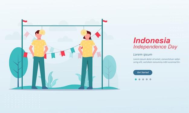 Modèle de page de destination happy indonesia independence day
