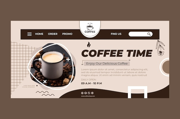 Modèle de page de destination de l'heure du café