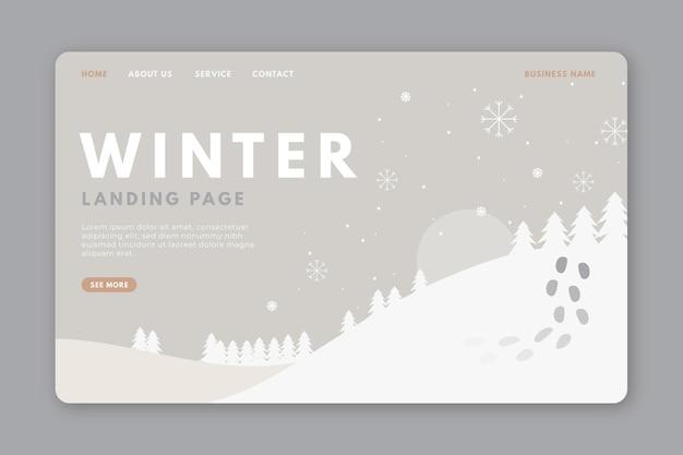 Modèle de page de destination d'hiver