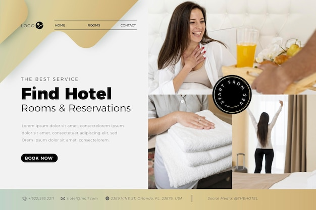 Modèle de page de destination d'hôtel moderne avec photo